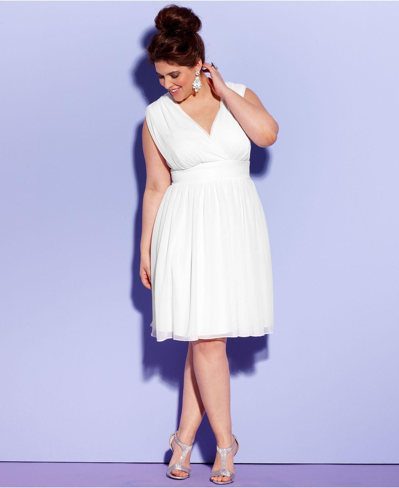 Trixxi Plus Size Dress, Sleeveless Sequin Empire A-Line ...