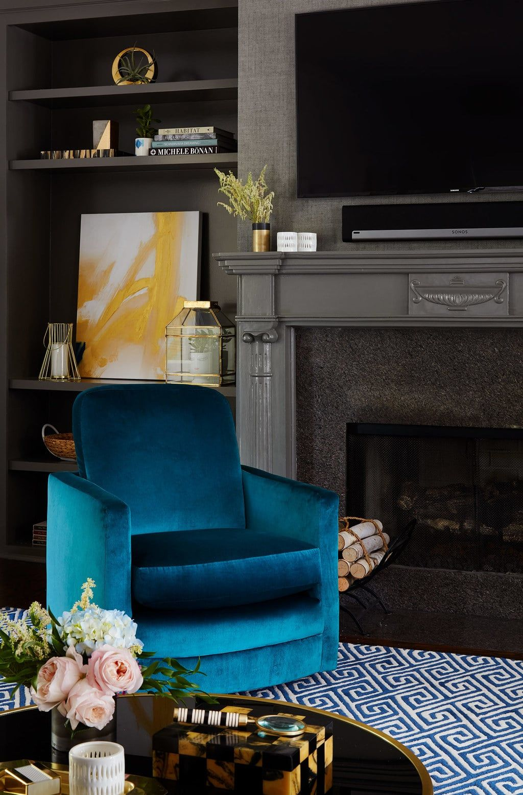 Blue velvet chair centered by design chairs consultant home interior also lincoln square family project in rh pinterest