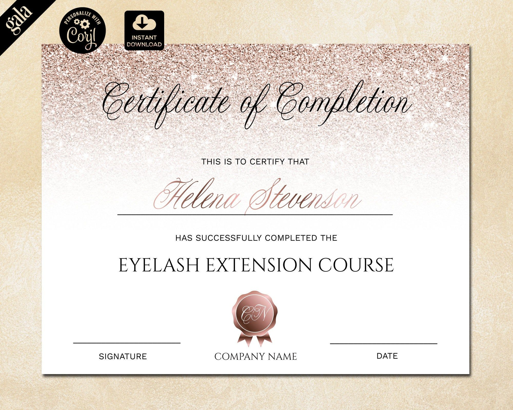 Certificate Of Completion Lashes Certificate Template Rose Etsy Certificate Of Completion Certificate Templates Certificate Of Completion Template Make a certificate of completion