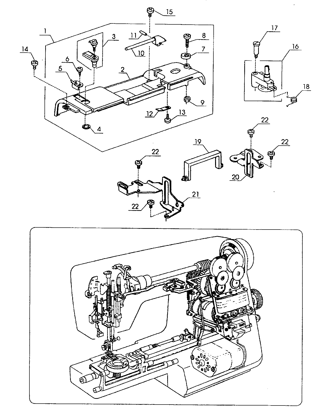 Sew Machine Mechanical Drawing