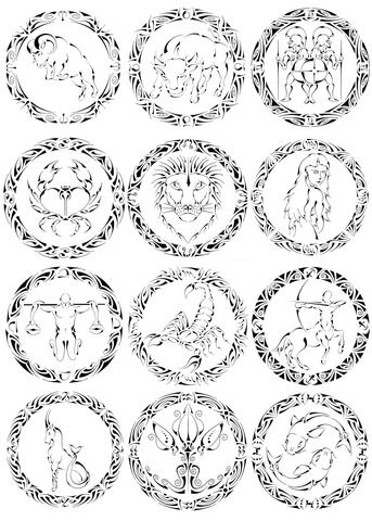 Zodiac Signs by Curvy Tribal Coloring page Zodiac Signs