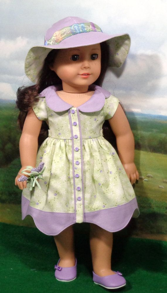 Contemporary Lavender and Green (MV) Dress & Hat for AG dolls by SugarloafDollClothes on Etsy $52.00