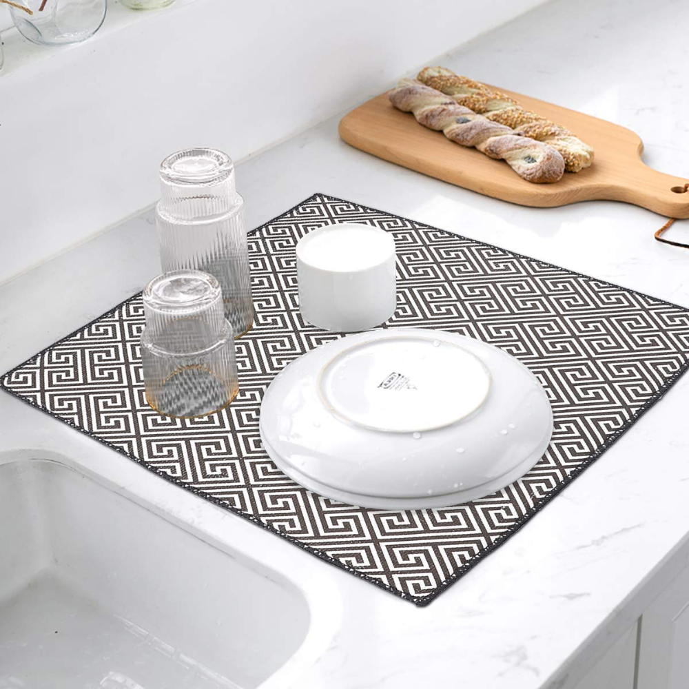 Amazon Com 2 Packs 20 X 15 Microfiber Dish Drying Mat For Kitchen Counter Top Dry Pad For Dishes Flatware Dinne Glassware Dinnerware Tabletop Accessories