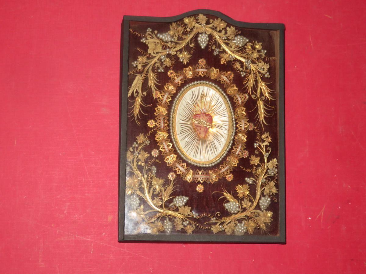 Cadre Reliquaire Avec Reliques Autour d'Un Coeur, époque 19èm, Cave et fils, Proantic