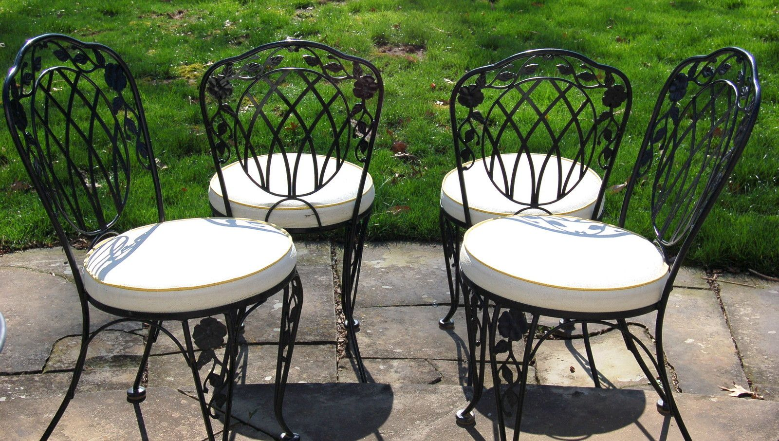 Lyon Shaw Windflower Lattice Wrought Iron Outdoor Patio Table 4