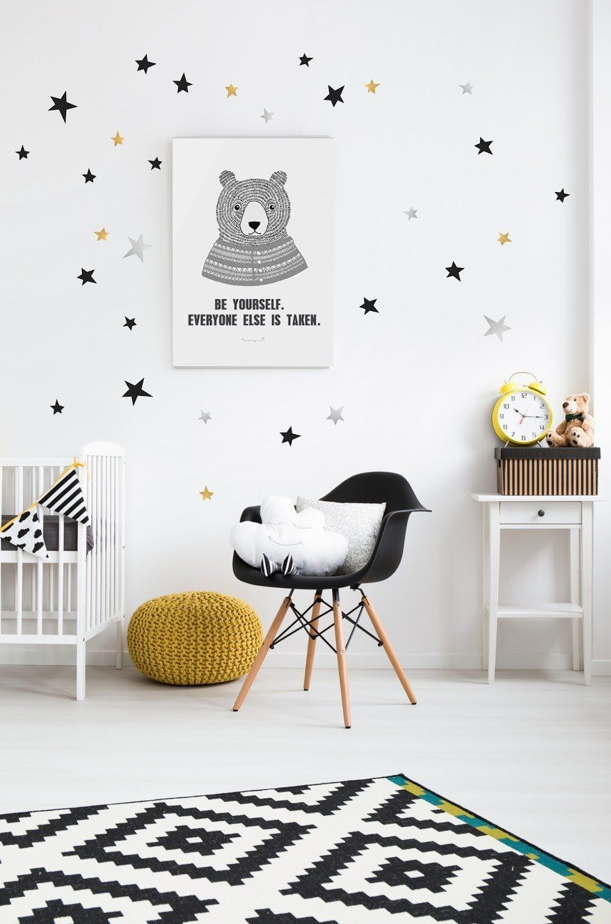 Pom Star Wall Transfers In Black Gold And Silver Chambre