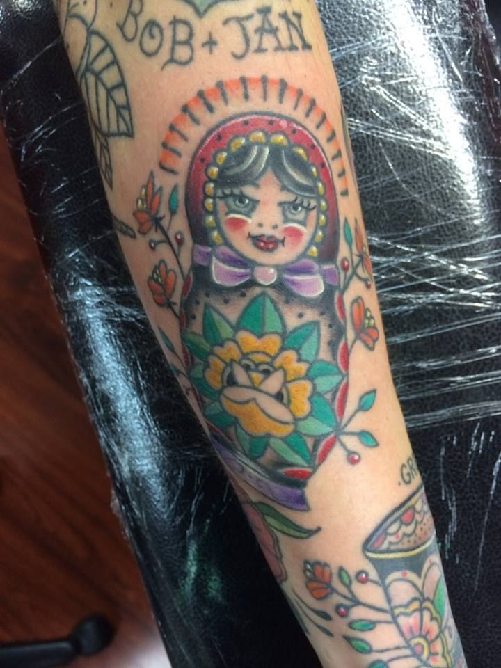Russian Nesting Doll Tattoo Tattooed By Josh Ludlow At Rogue Tattoo In Medford Oregon Rogue Tattoo Nesting Doll Tattoo Doll Tattoo
