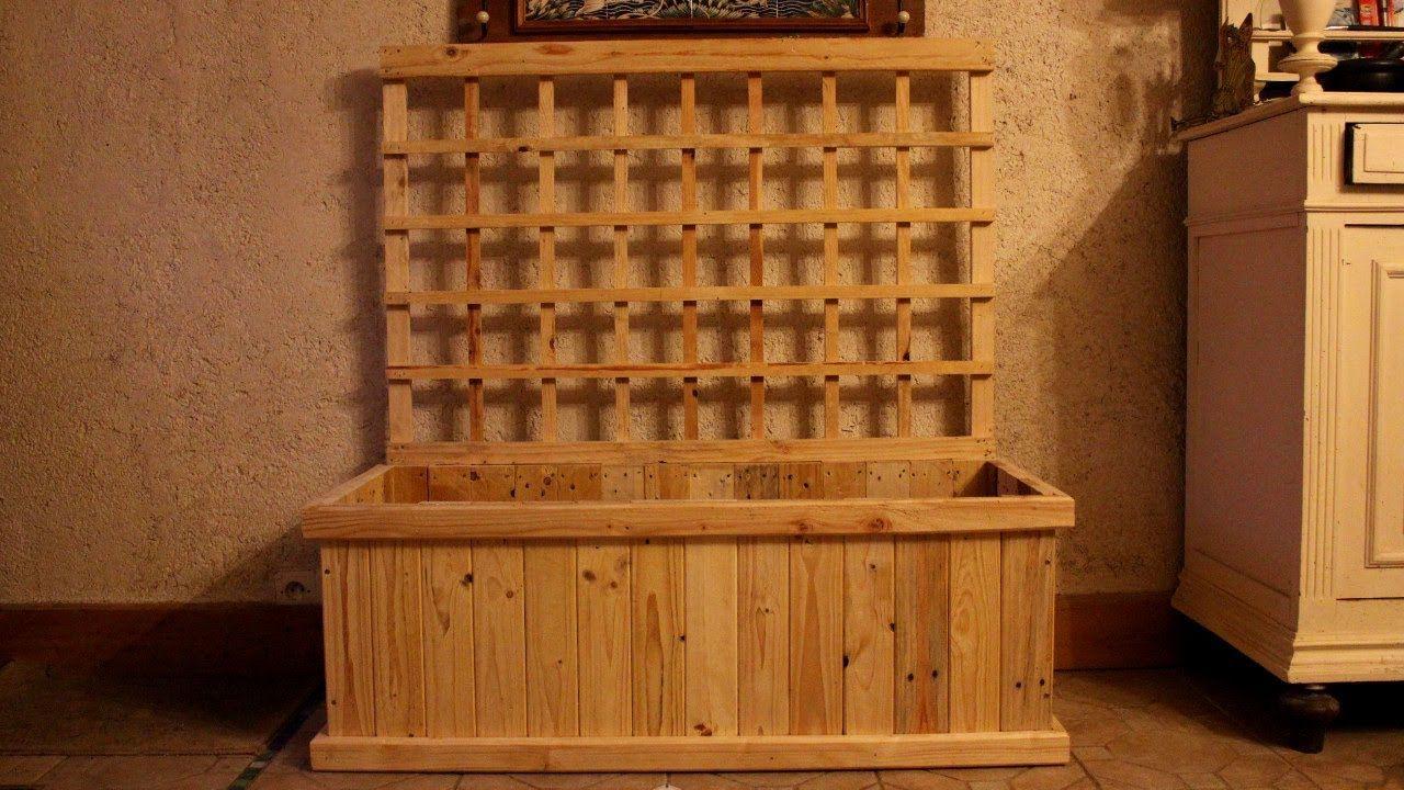 DIY Pallet Wood Trellis Planter For Indoor Food Production. Jardinière  Treillis Jardinera Celosía