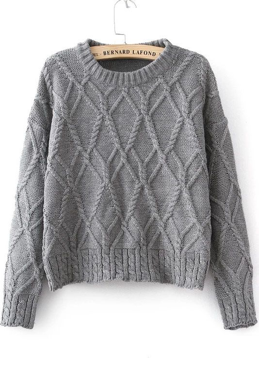 SALE Grey Long Sleeve Cable Knit Sweater Shop the #SALE at ...
