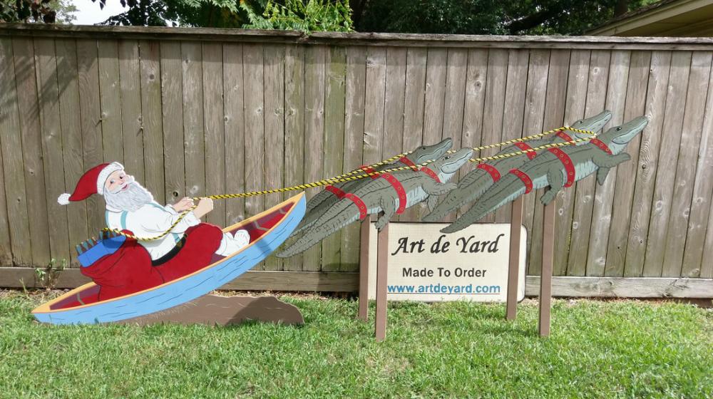 Cajun Santa In Pirogue Flown By 4 Reingators Christmas Yard Art Christmas Yard Christmas Yard Decorations