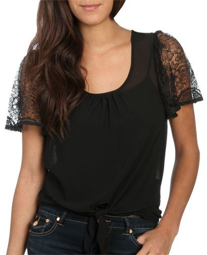 $15.00 - XS,S,M,L  Lace Sleeve Top from WetSeal.com