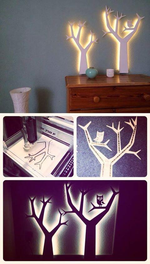 aus einer sperrholzplatte b ume auss gen am besten mit einer fr se und das ganze mit led. Black Bedroom Furniture Sets. Home Design Ideas