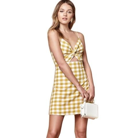 0734d06ea4c Spaghetti Strap A-Line Yellow Plaid Mini Dress SE – deevybuy