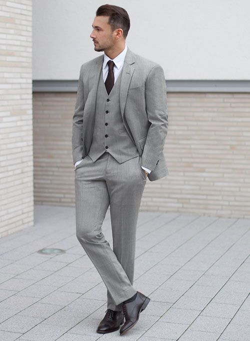 1293c8819d2a Worsted Light Gray Wool Suit   StudioSuits  Made To Measure Custom Suits