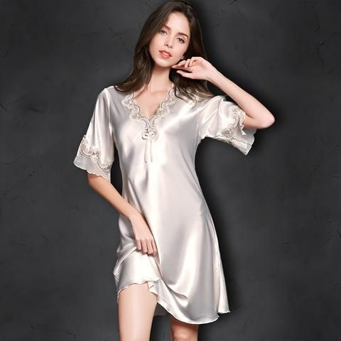EBay  Nightgown Pijama Victoria Sexy Silk Night Dress Lace Plus Size Short  Sleeve Pyjamas Women Nightwear Sleepwear Nuisette Femme 230f1da7c