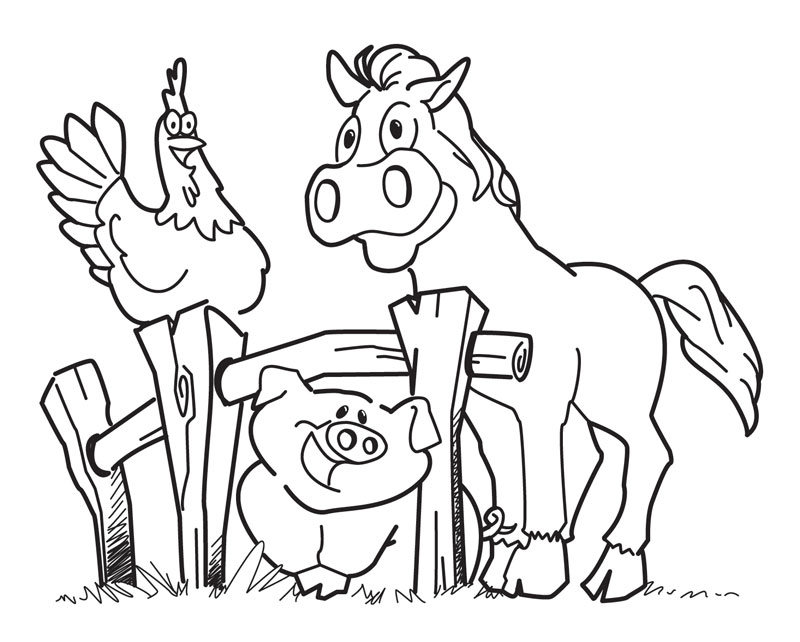 Funny Barn Yard Animals Coloring Page