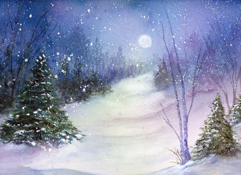 339268b947d Forest Snow Moon Watercolor Print Winter by LynneValeriArtStudio on Etsy  https   www.