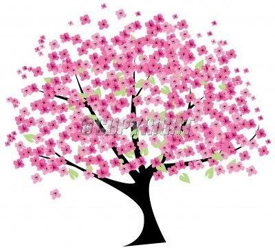 Tree clipart cherry tree in blossom vector illustration for Sakura albero