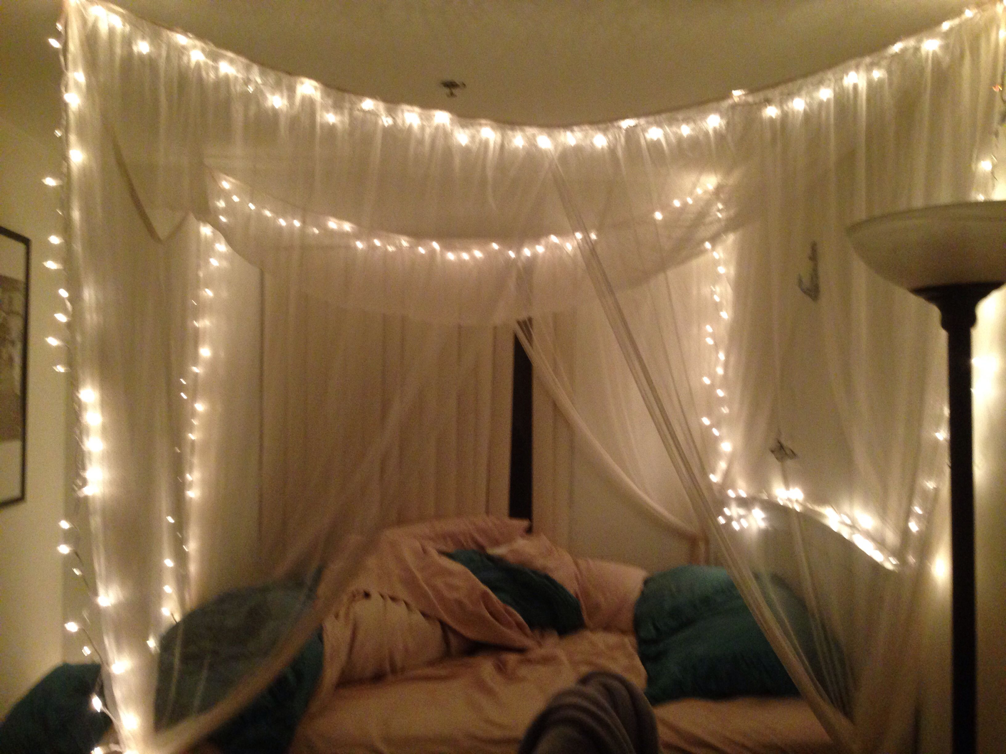 twinkle lights in canopy bed bedroom pinterest. Black Bedroom Furniture Sets. Home Design Ideas