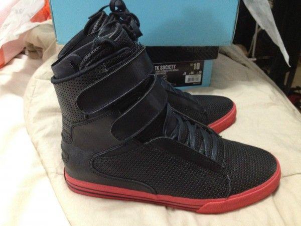 Supra Tk Society Black Red Skytop Justin Bieber Jason Derulo Shoe Size 9 5 Sneakers Kicks