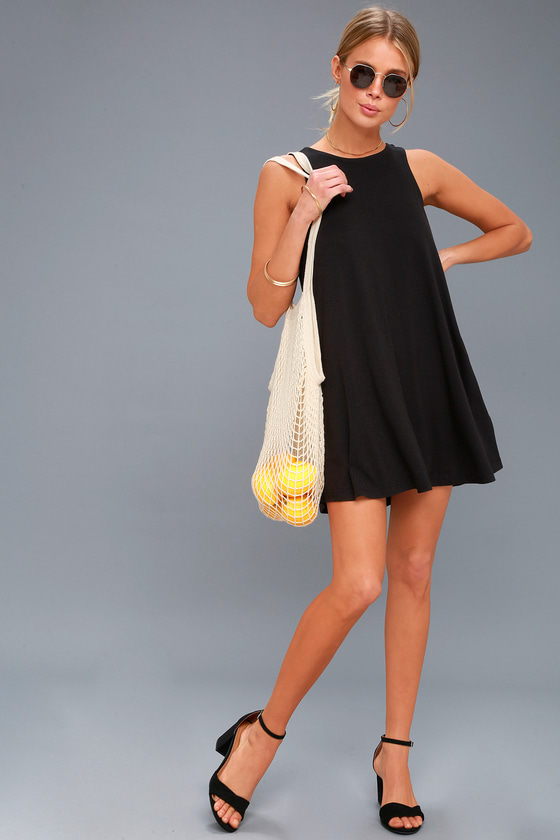 Lulus | Tempted Black Sleeveless Swing Dress | Size X-Small #blacksleevelessdress