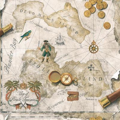 """York Wallcoverings Brothers and Sisters V Pirates Map 33' x 20.5"""" Children Roll Wallpaper Color:"""