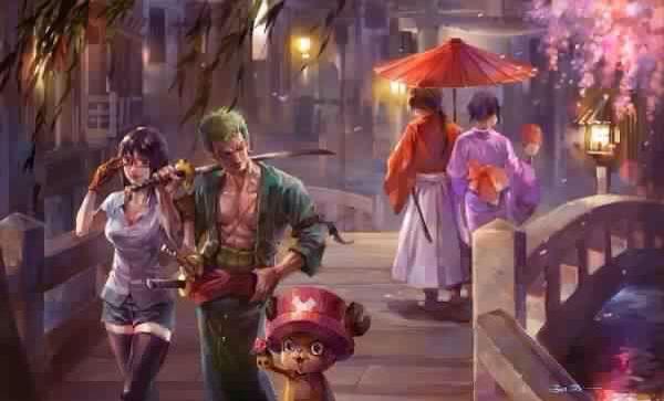 Robin, Zoro, Chopper, Kenshin, Og Kaoru Crossover-5999
