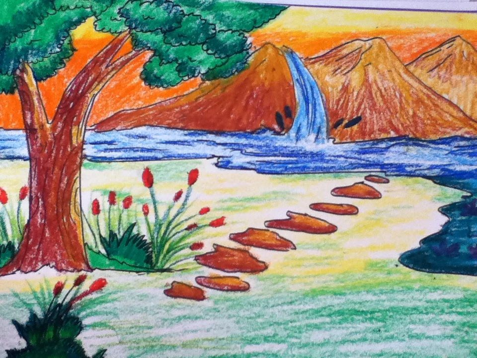 Beautiful Scenery Drawing For Kids In Simple Steps Drawing Scenery Nature Drawing Pictures Beautiful Scenery Drawing