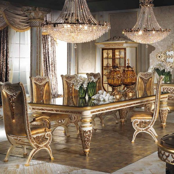 Cheap estilo europeo de madera refinada tallado decorativo for Muebles de comedor elegantes