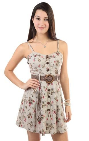 floral printed corset style belted casual dress