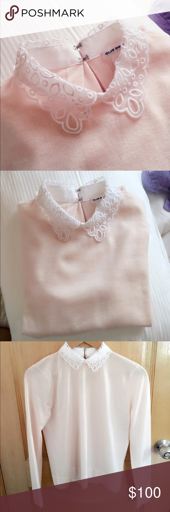 Club Monaco - Peter Pan Collar - Pink - Never Worn This is a never worn 100% Merino Wool sweater from Club Monaco. This sweater has a Peter Pan Lace Collar. It is a pale pink and in size S/P Club Monaco Sweaters Crew & Scoop Necks