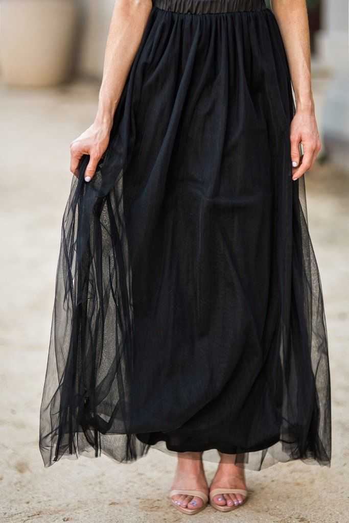 Who said a tulle skirt can't be edgy and chic? Our new black tulle maxi skirts have layers of soft...