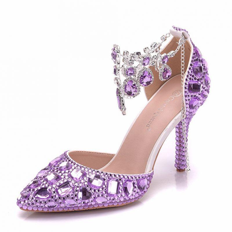 Charming Lilac Wedding Shoes 2018 Crystal Ankle Strap 9 Cm Stiletto Heels Round Toe Wedding High Heels Lilac Heels Wedding High Heels Stiletto Heels