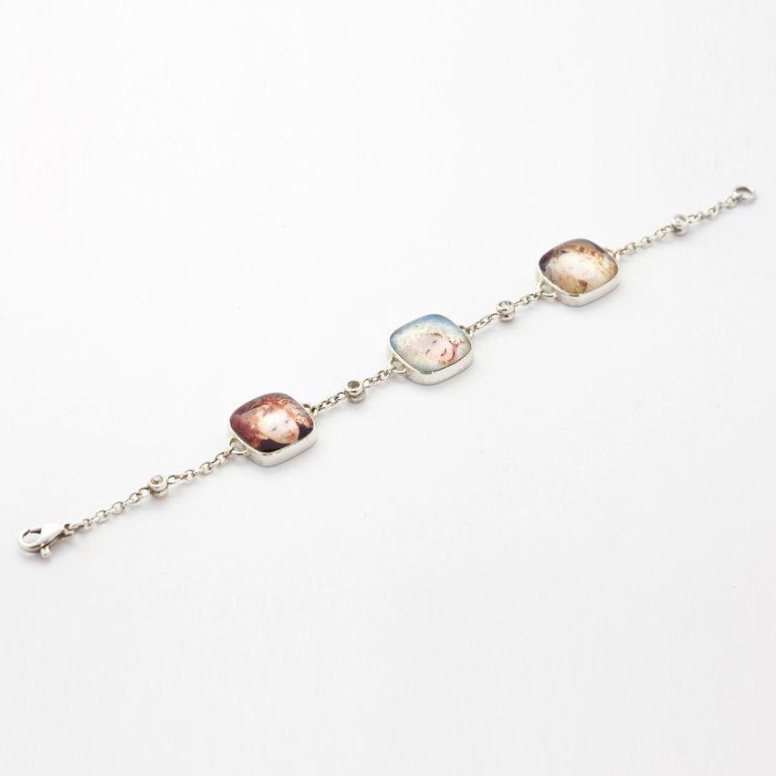 "Roberta Tajani - Bracelet ""Pentolino"" Three image and four Diamonds -White Gold 18 ct."