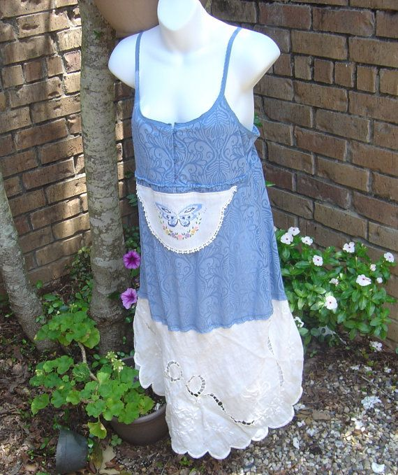 Upcycled Slip Dress Gypsy Boho Country Chic by sweetdaisyscloset, $32.00