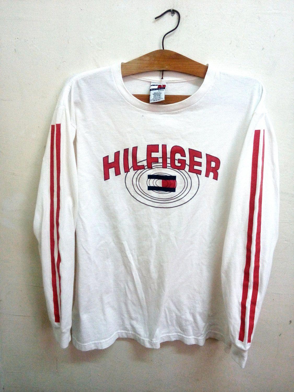 c831bae80016 SALE Rare Vintage Tommy Hilfiger Logo Long Sleeve 90s Logo Era t-shirt  Surfing…
