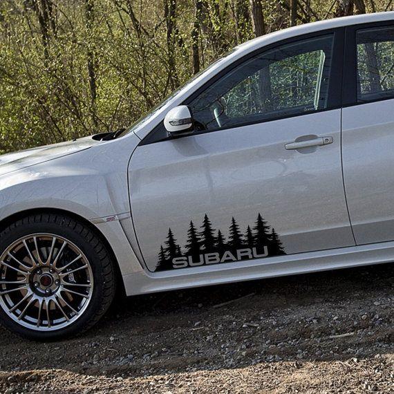 Subaru Decal Custom Vinyl Forest Silhouette Graphic Door Or Window - Car window vinyl graphics
