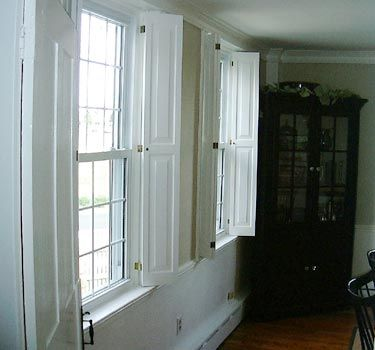Colonial shutterworks handcrafted raised panel shutters - Raised panel interior window shutters ...