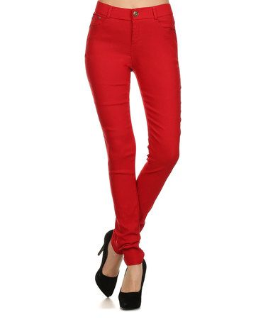 Another great find on #zulily! Red Mid-Waist Jeggings #zulilyfinds