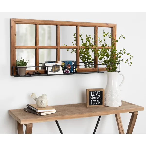 Prout Farmhouse With Shelves Beveled Accent Mirror Wall Mirror With Shelf Mirror With Shelf Farmhouse Wall Mirrors