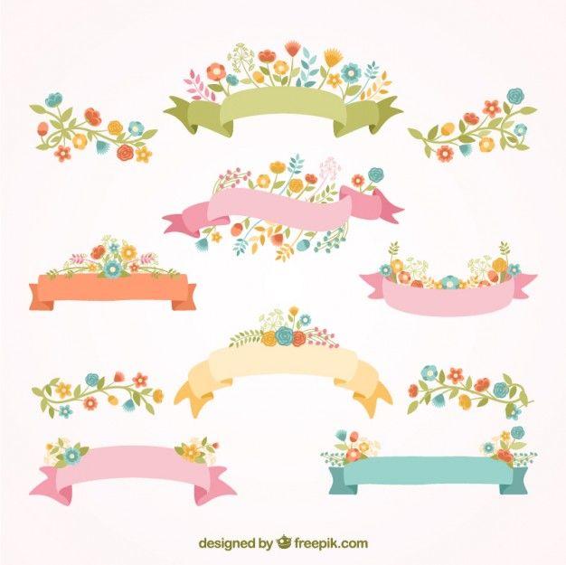 20 Recursos primaverales gratuitos para diseñadores Ribbon banner - fresh invitation banner vector