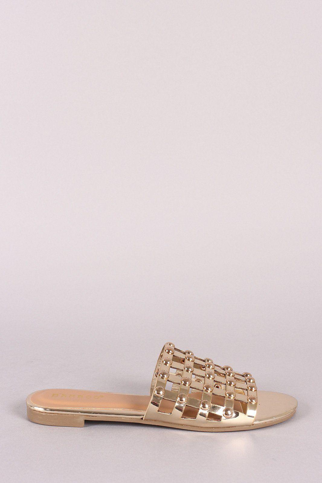 668d9fcab68f82 Bamboo Studded Grid Caged Slide Sandals