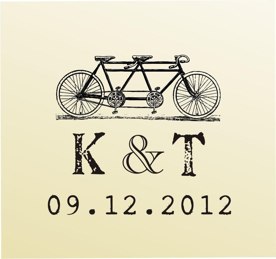 Vintage MONOGRAM Bike design typewriter font rubber stamp clear ...