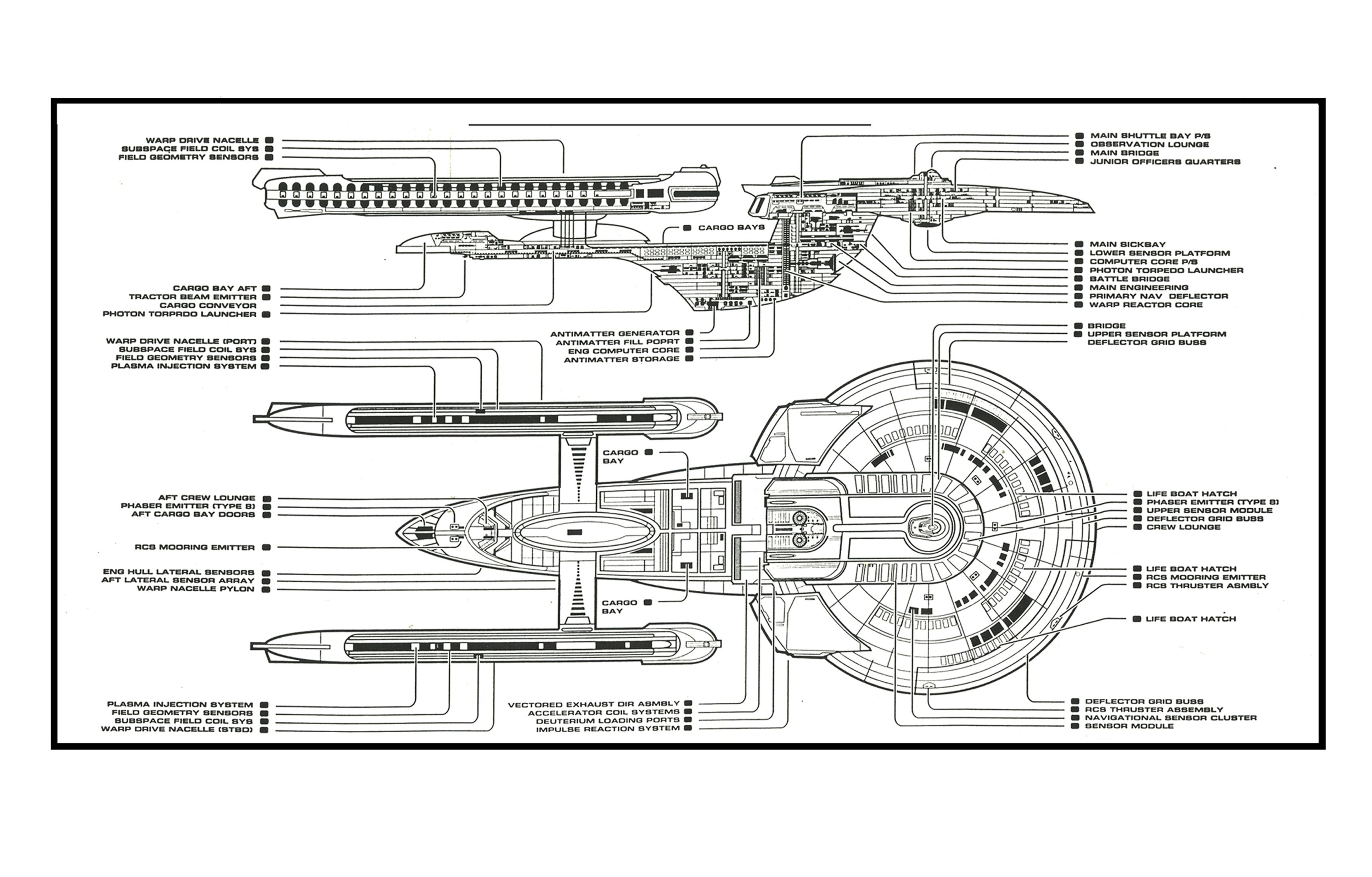 Schematic Of U S S Enterprise Ncc B Star Trek