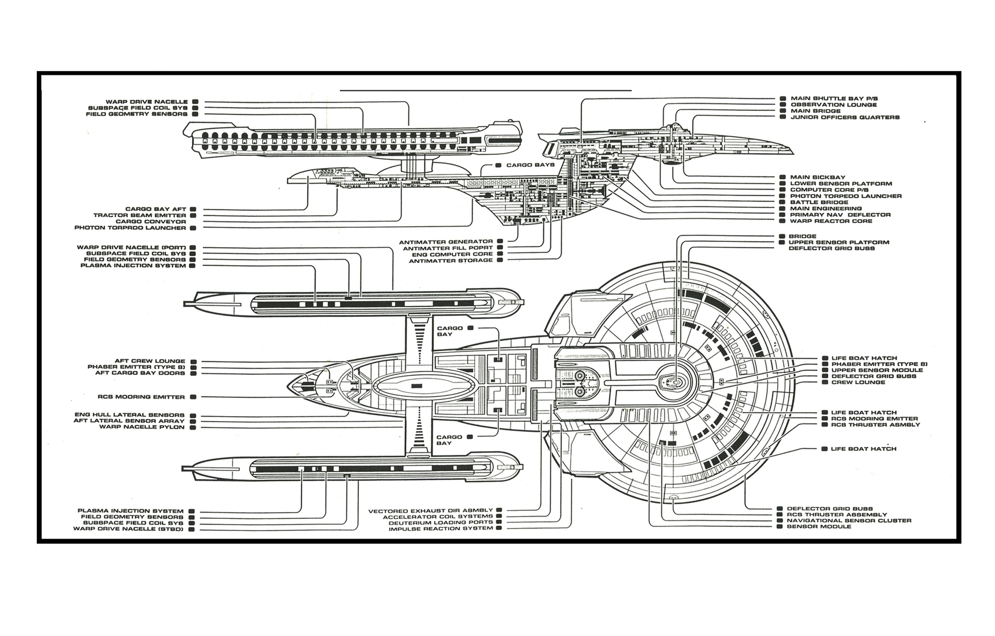 Schematic Of U S S Enterprise Ncc B Star Trek