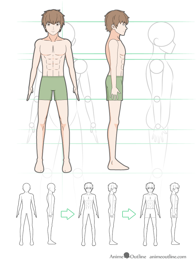 How To Draw Anime Male Body Step By Step Tutorial Animeoutline Anime Drawings Anime Guys Anime Guy Blue Hair