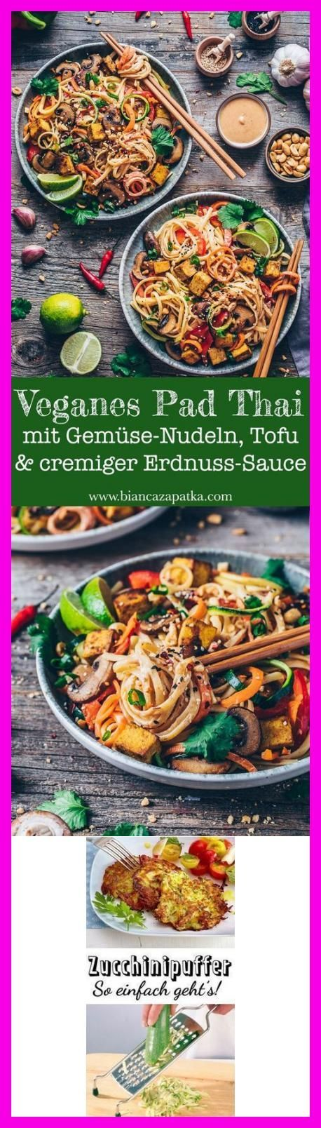 Photo of Zucchini-Spaghetti An Basilikumsauce –  Veganes Pad Thai mit Gemüsenudeln  #Woh…