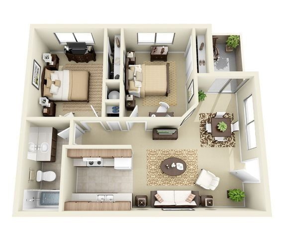 Riverside House Apartments: The Riverside 2 Bed 2 Bathroom Floorplan In 2019