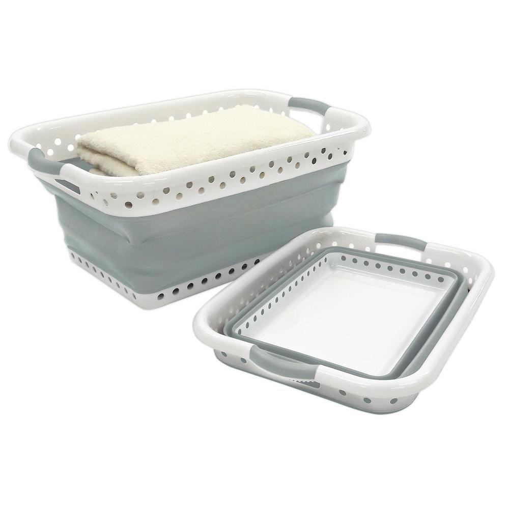 Homz White And Grey Collapsible Plastic Rectangle Laundry Basket Set Of 1 Grey White Valerie Duane Kitchen Pantry Laundry In 2019 Collapsible Laun