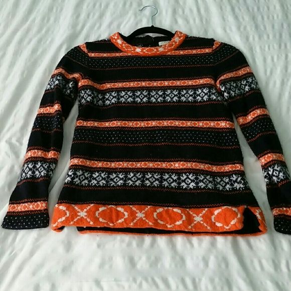Navy and Orange Fair Isle sweater J.Crew Factory Fair Isle sweater ...